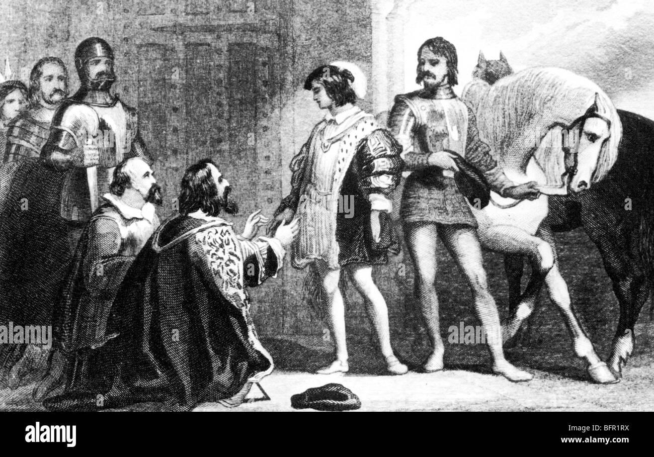 König JAMES v. von Schottland kommt bei Stirling Castle in 1528 nach der Gefangenschaft zu entkommen Stockbild