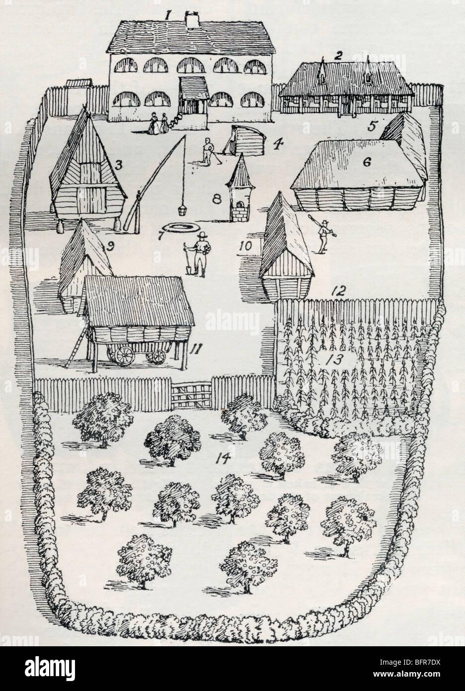 Eine kommunale Homestead in keltischen Britannien.  Siehe vollständige Beschreibung unten. Stockbild