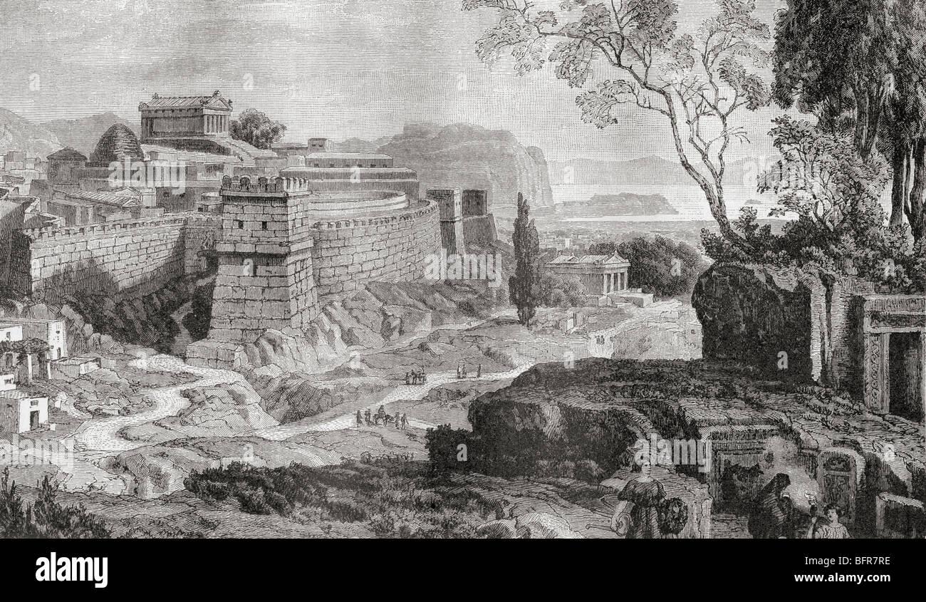 Mykene, das Zentrum der frühen griechischen Kultur wie es wäre in das heroische Zeitalter erschienen. Stockbild