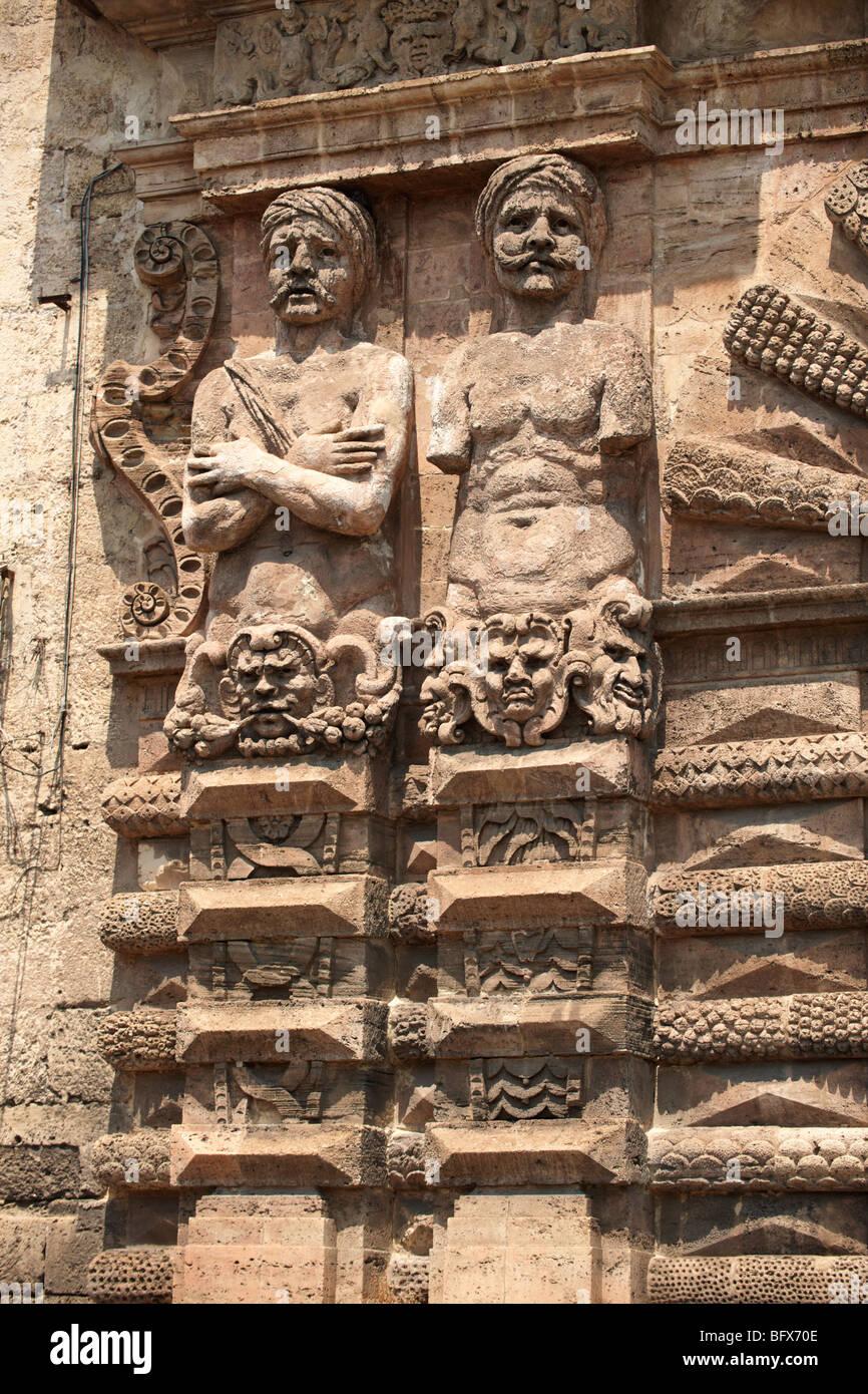 POTA Nuova Bogen barocken Skulpturen, architektonische Dekoration, Palermo Sizilien Stockbild