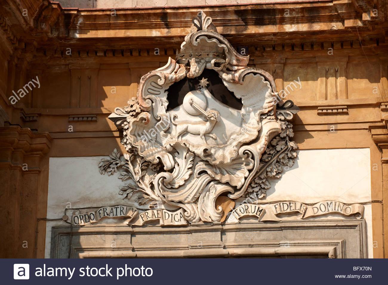 Barocke Skulpturen, architektonische Dekoration, Palermo Sizilien Stockbild
