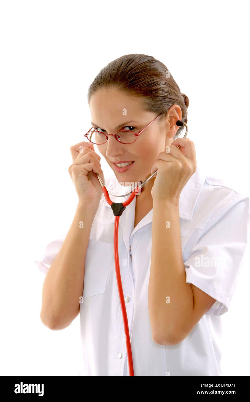 Auch Mit Stethoskop, Krankenschwester mit Stethoskop Stockbild