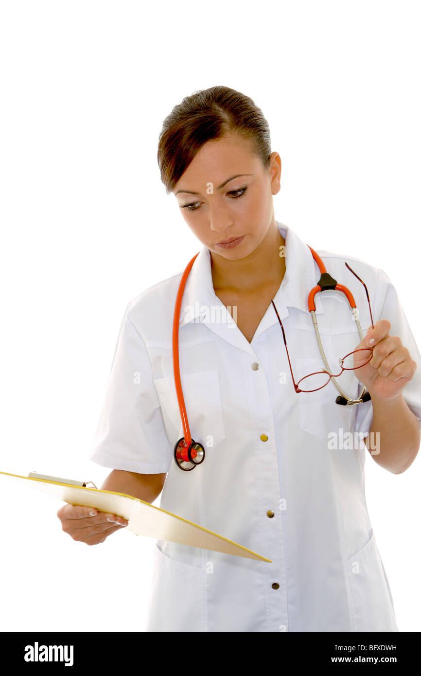 Auch Mit Stethoskop Und Krankenakte, Krankenschwester mit Stethoskop und Krankenakte Stockbild