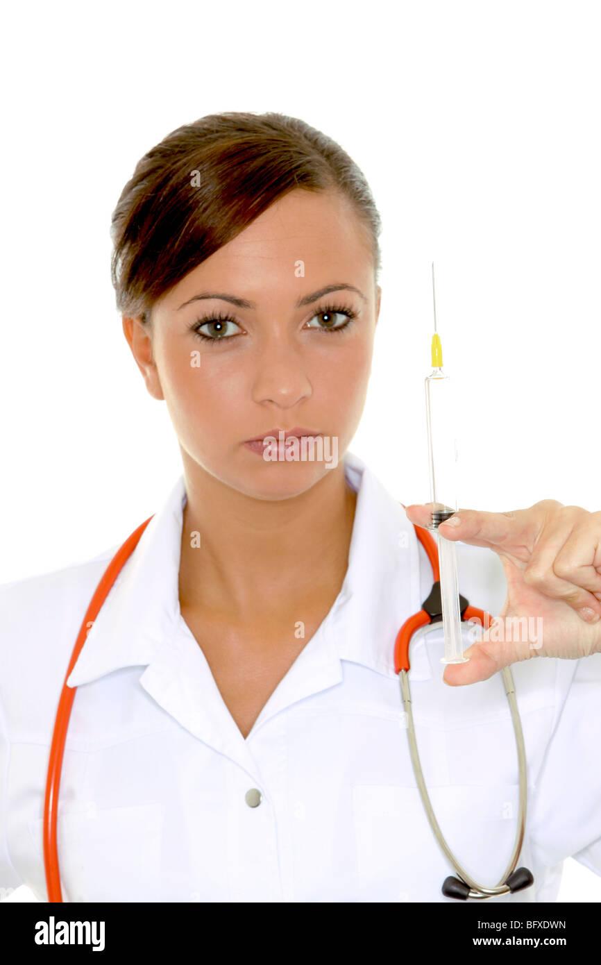 Auch Mit Einer Spritze, Krankenschwester mit Spritze Stockbild