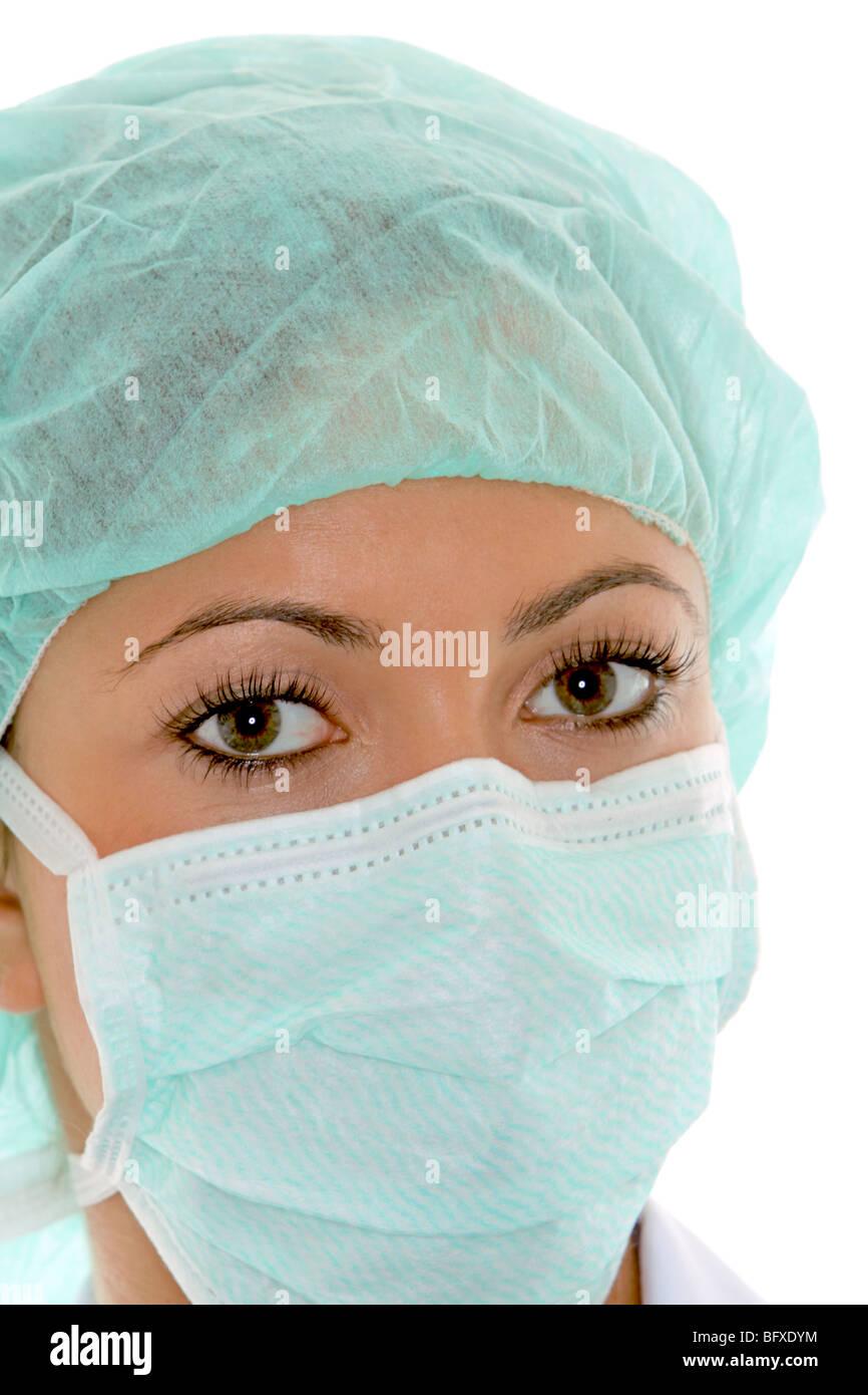 Ärztin Mit Mundschutz Und Schutzhaube, Ärztin mit Mundschutz Stockbild
