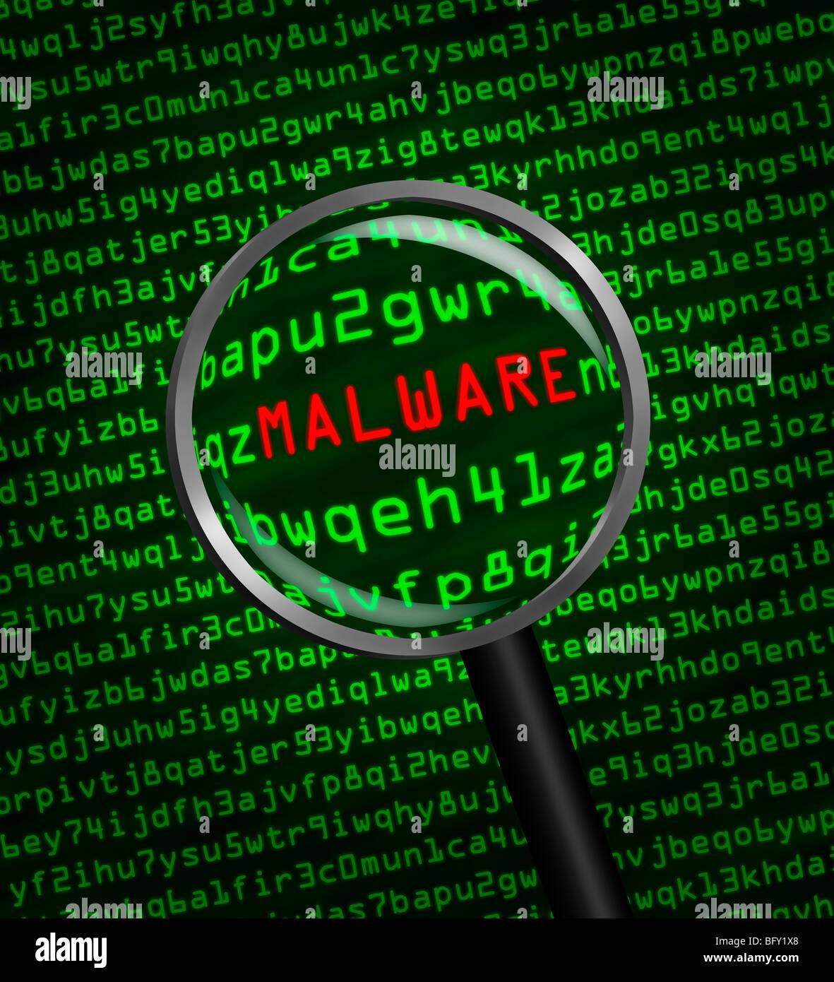 Lupe vergrößern Malware in Computer-Maschinen-code Stockbild