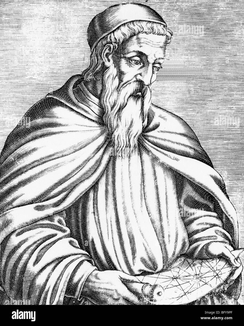 AMERIGO VESPUCCI (1451-1512) italienischer Explorer in einem Kupferstich aus dem 16. Jahrhundert. Amerika ist nach Stockbild