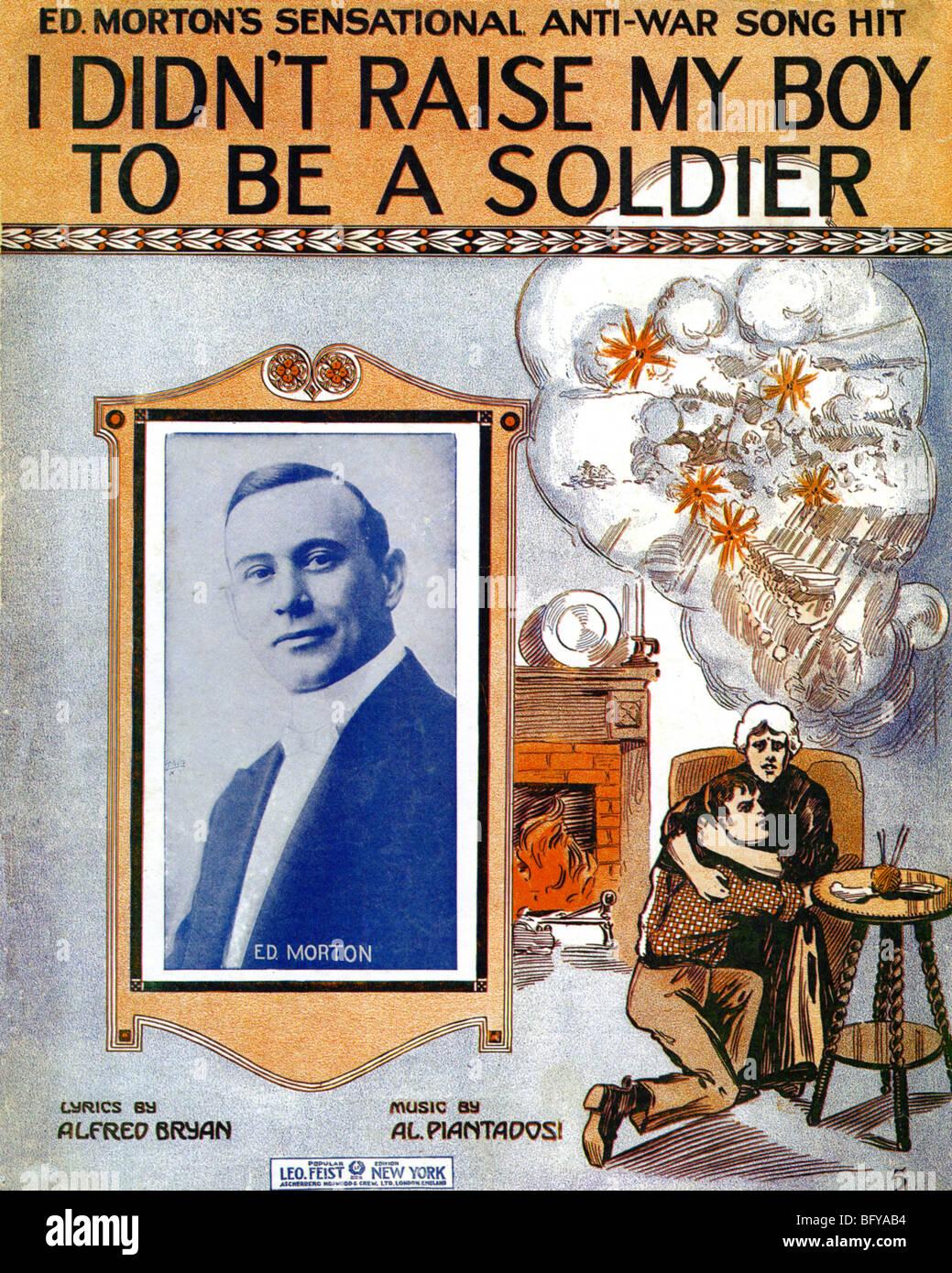 PAZIFISTISCHE Lied 1915 Noten Anti-Kriegs-Lied gesungen von amerikanischen Ed Morton Stockbild