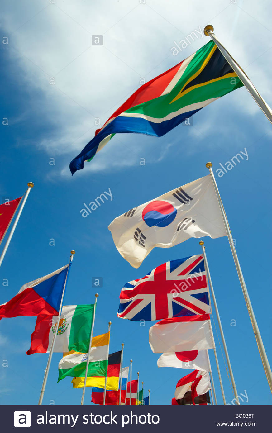 Ländern der Welt kennzeichnet International fliegen Stockbild