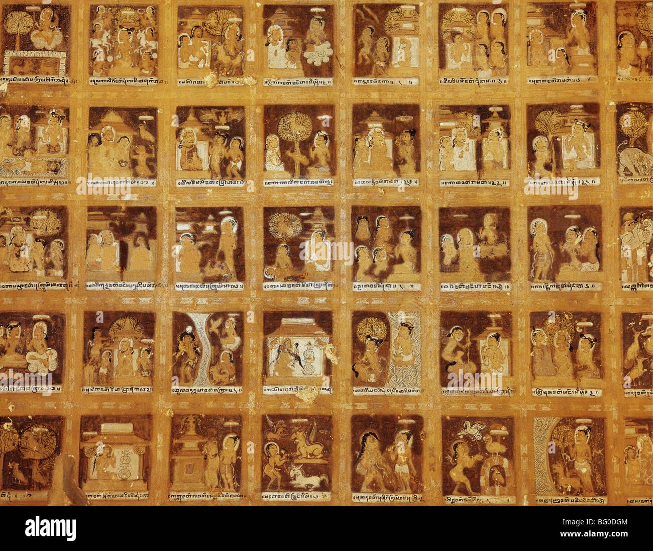 Jataka Szenen an der Decke im Kubyauk Gyi (Wetkyi-In), Bagan (Pagan), Myanmar (Burma), Asien Stockbild