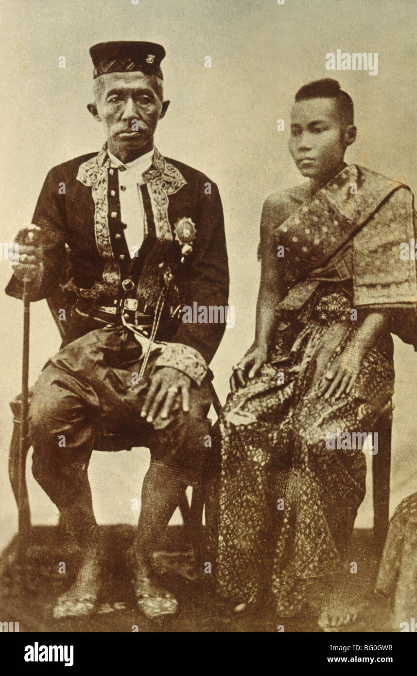 Foto von König Mongkut (Rama IV) regierte von 1951 bis 1868, mit seiner Frau, Thailand, Südostasien, Asien Stockbild