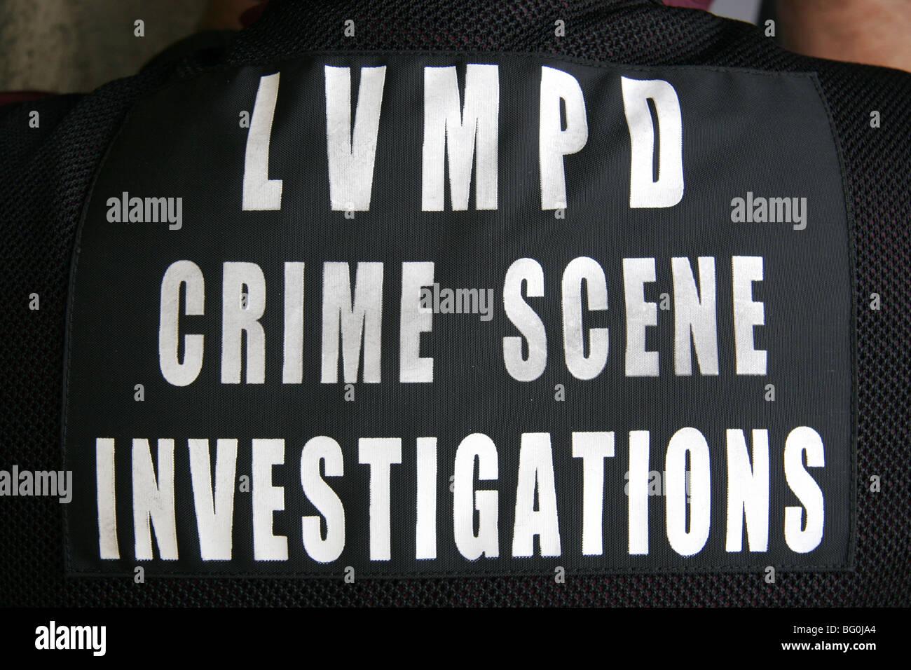Las Vegas Metropolitan Police Department CSI - Crime Scene Investigator. Stockbild