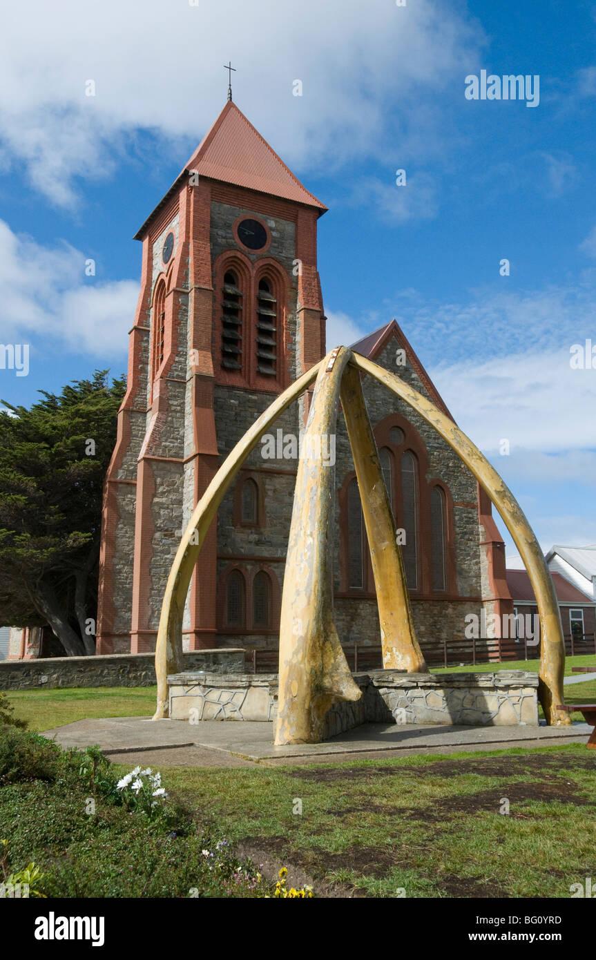 Kathedrale und Whale Bone Arch, Port Stanley, Falkland-Inseln, Südamerika Stockbild