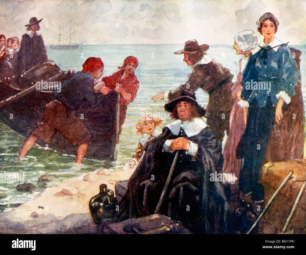 Außenillustration die ersten Pilger In Amerika das Schiff Mayflower kamen ist In der Ferne Abbildung von A.S Stockbild