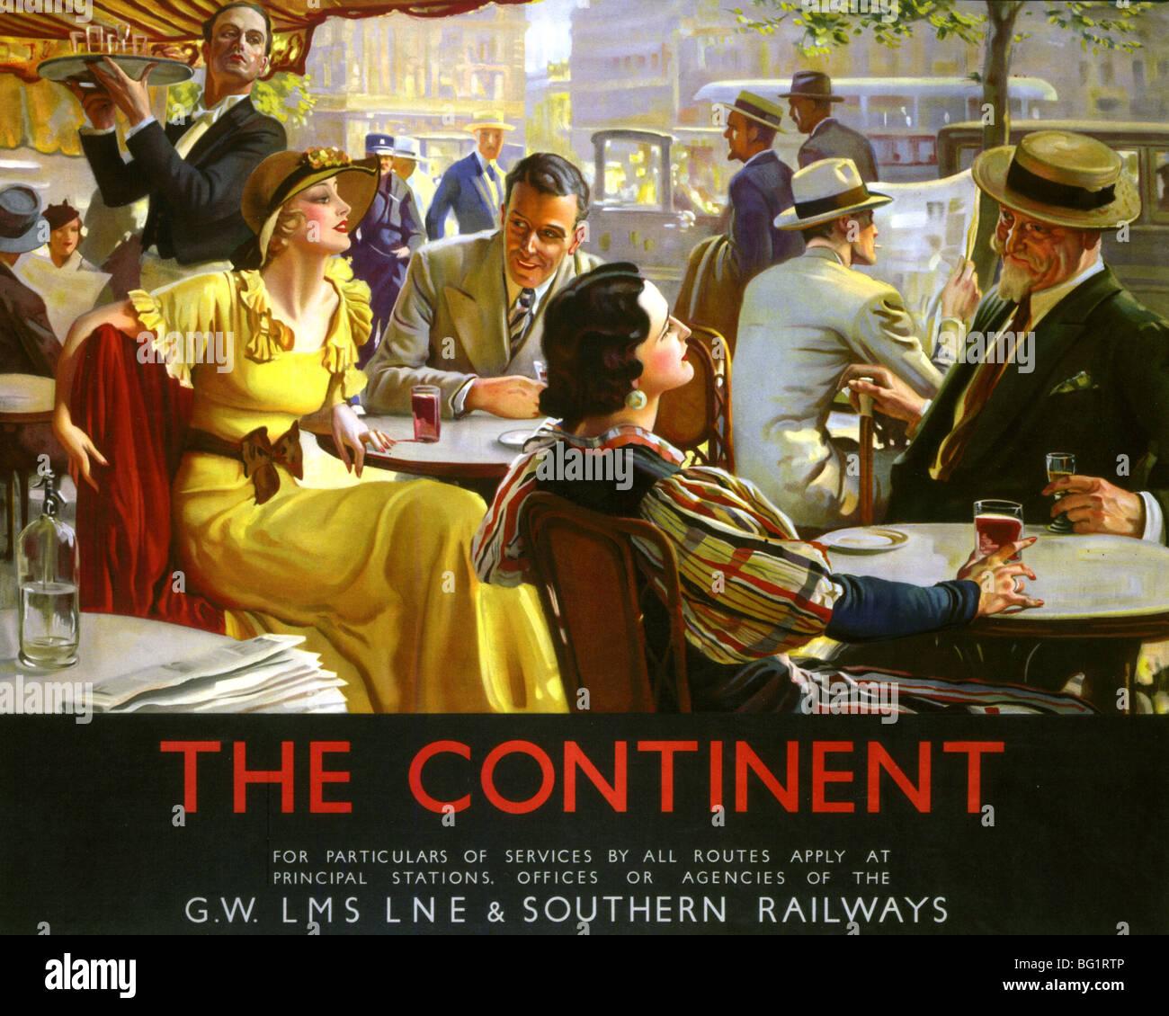 Britische Eisenbahngesellschaften Paris CAFE Leben fördern Reise auf den Kontinent in den 1920er Jahren Stockbild