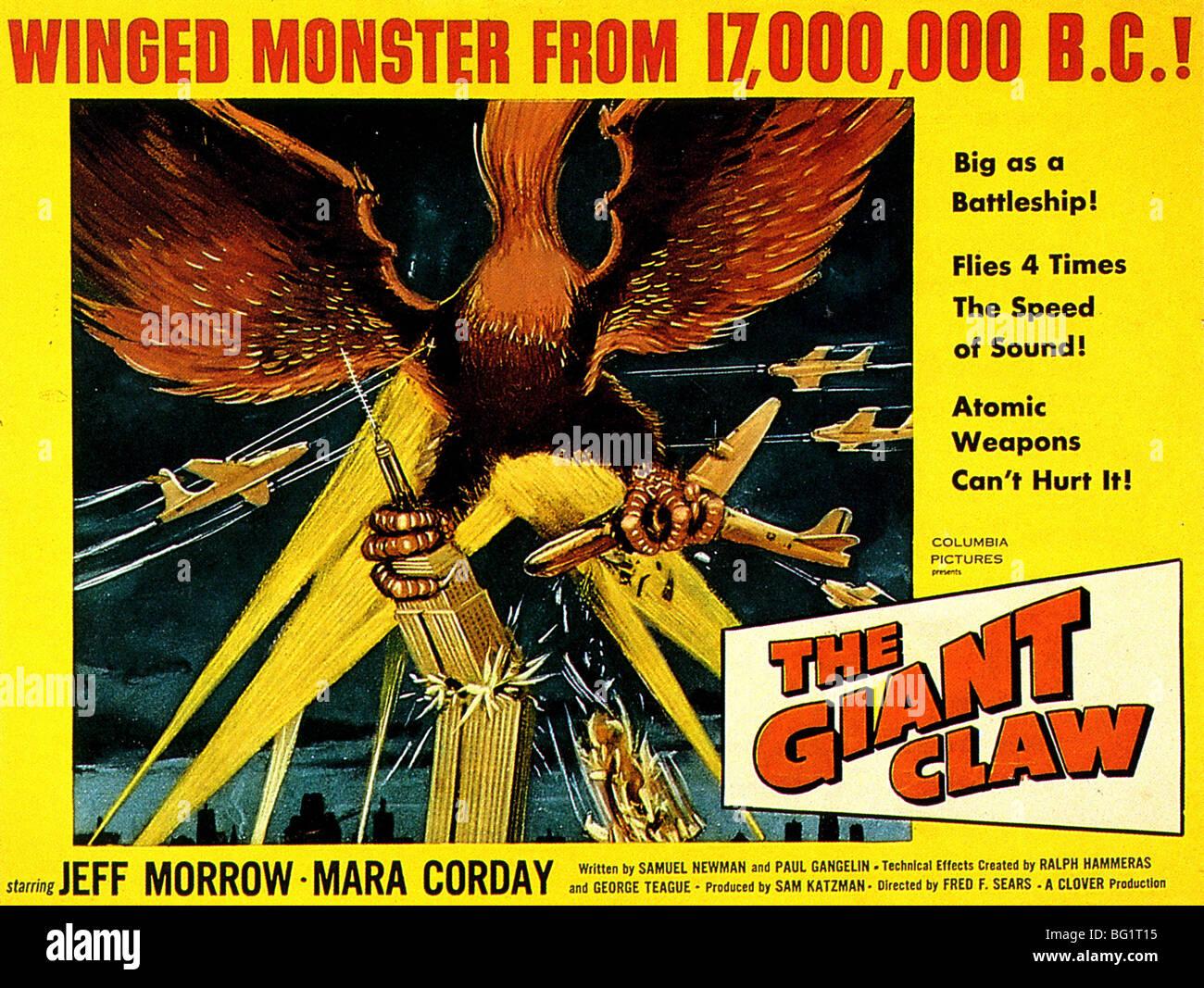 DIE GIANT CLAW - Plakat für 1957 Columbia Pictures Film Stockbild