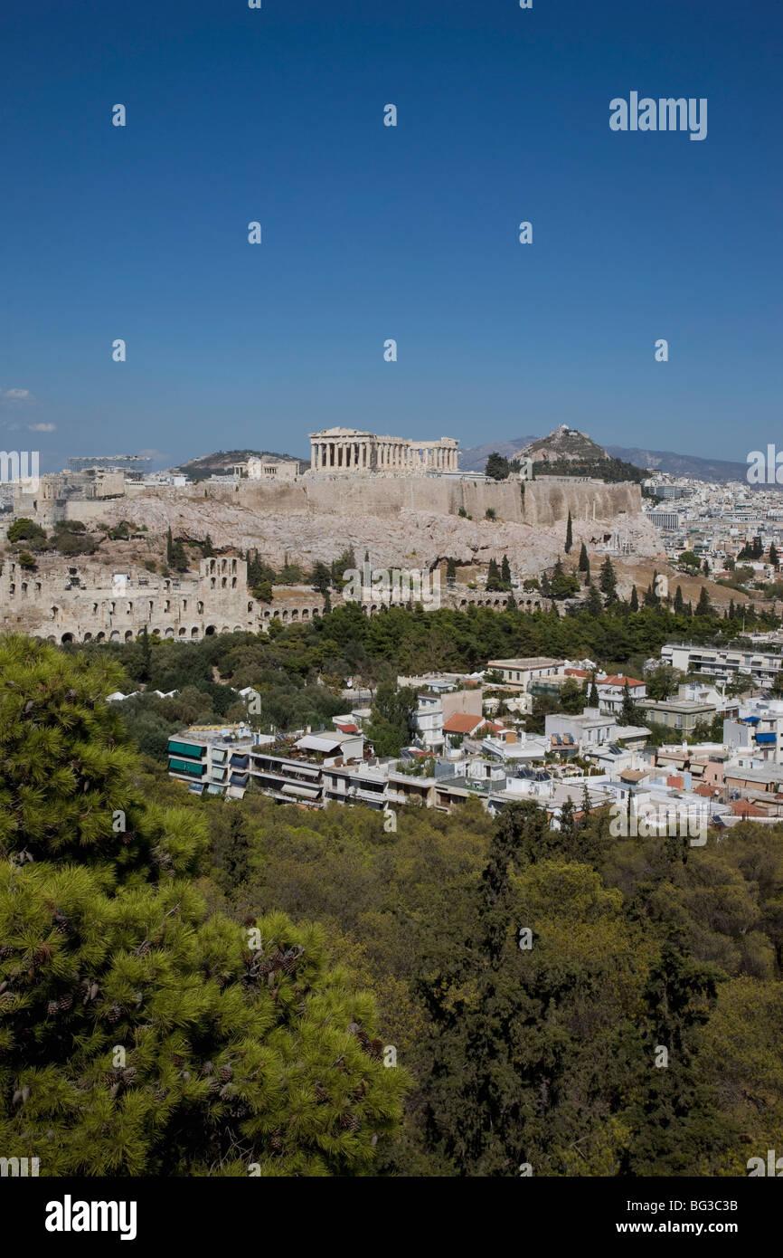 Akropolis auf die Skyline, Athen, Griechenland, Europa Stockbild