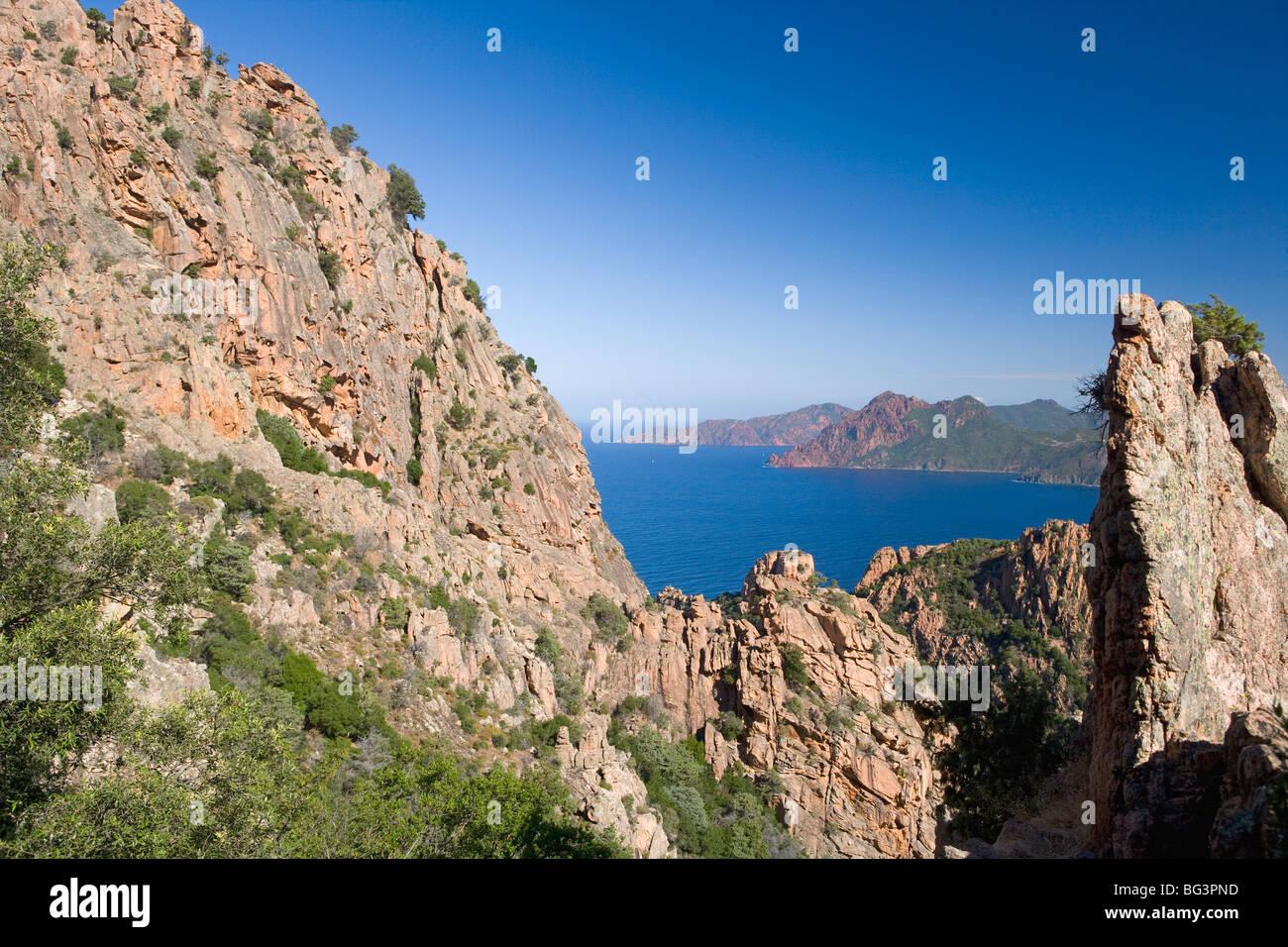 Les Calanche, Westküste, Golfe de Porto, Korsika, Frankreich, Mittelmeer, Europa Stockbild