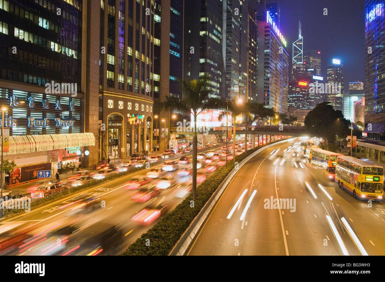 Autobahn läuft entlang der Hafen von Hong Kong Stockfoto