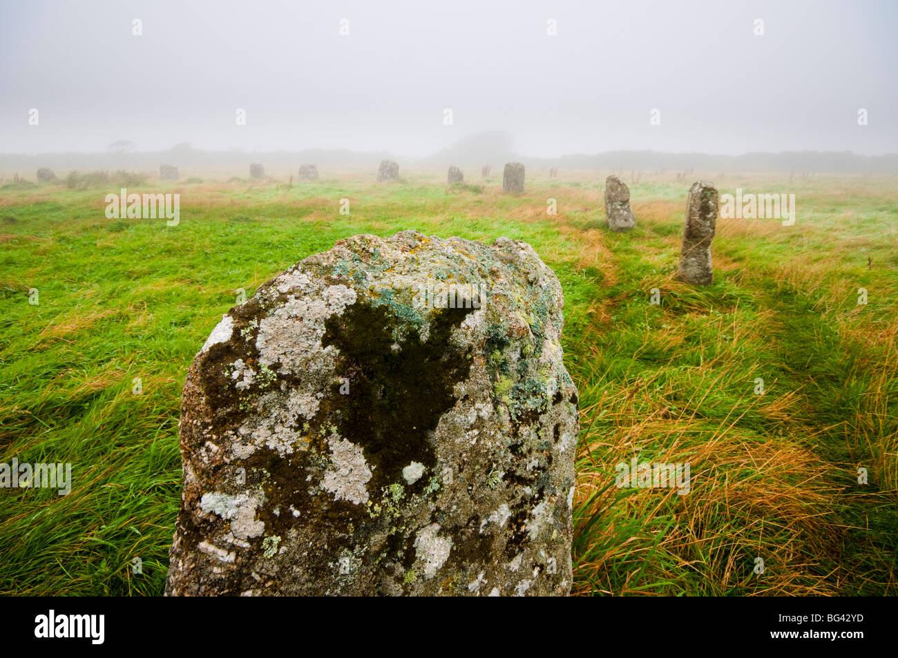 Großbritannien, England, Cornwall, Steinkreis der Merry Maidens Stockbild