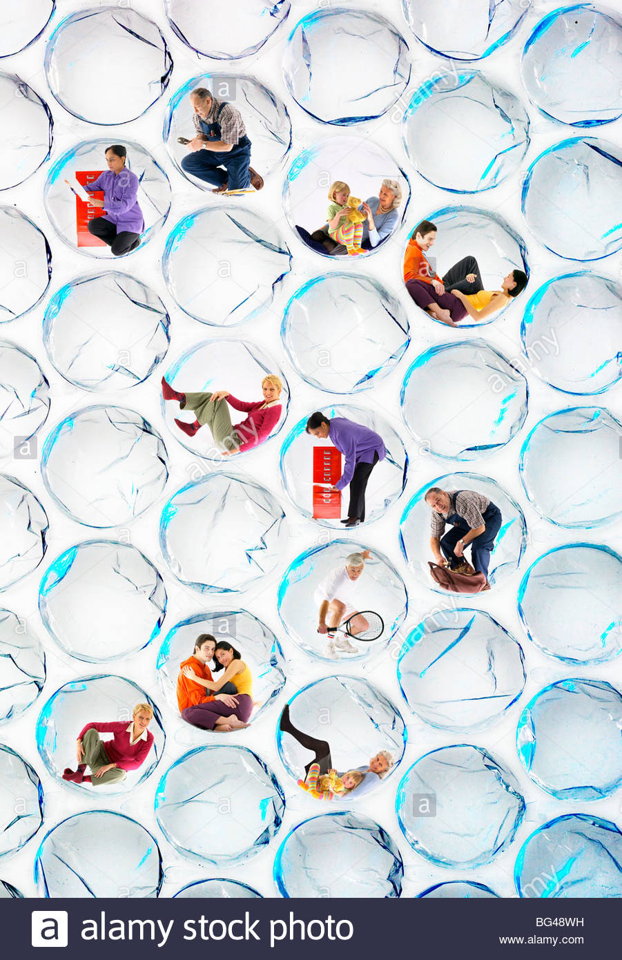 Menschen, die verschiedene Aufgaben in Blase wickeln Bläschen Stockbild