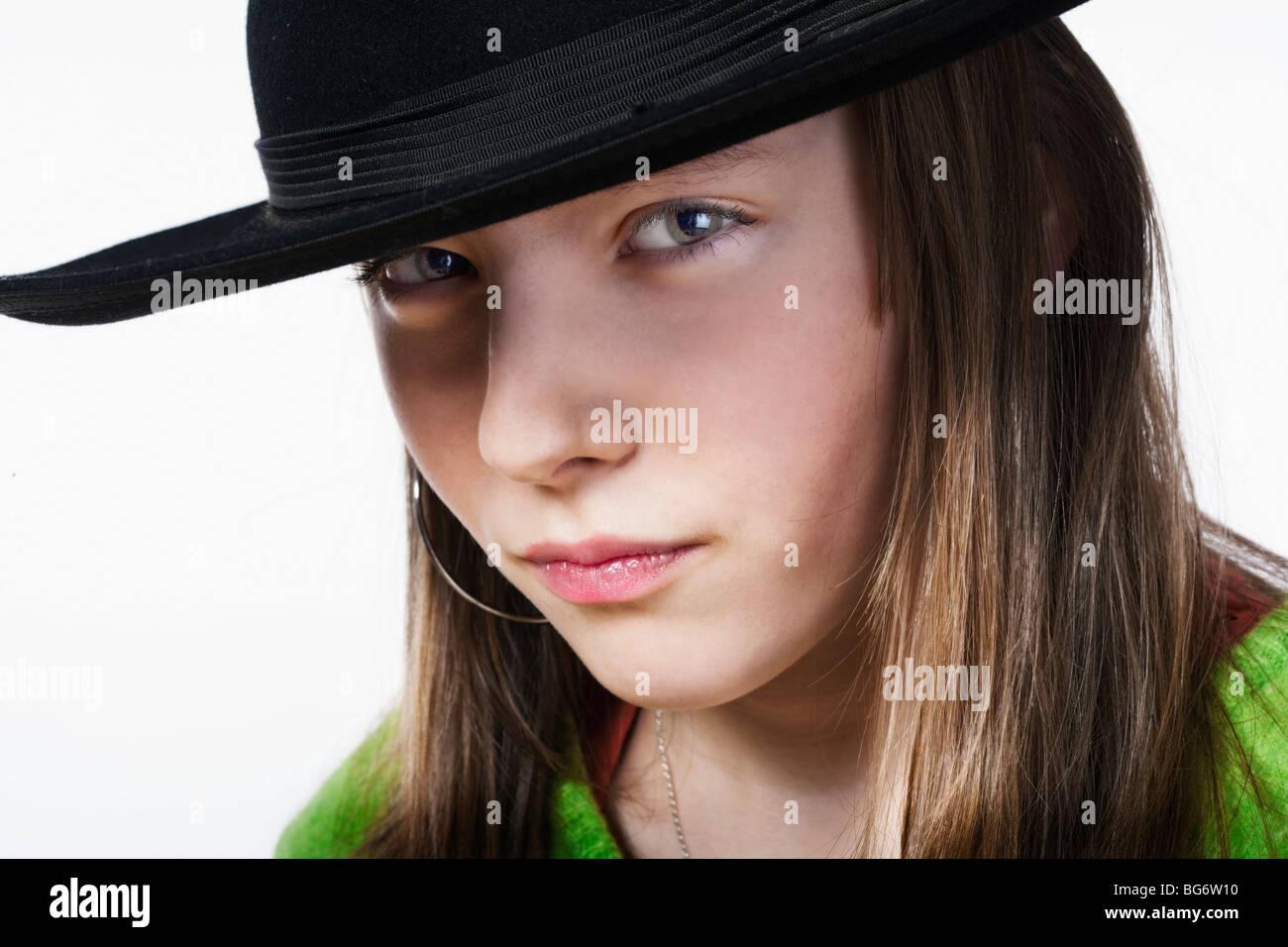 Studio Porträt Von Einem Hübschen Elf Jahre Altes Mädchen Stockfoto