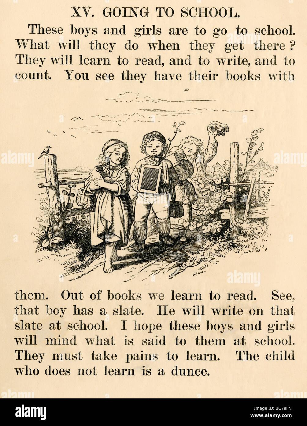 Buchillustration der Kinder auf ihrem Weg zur Schule, der 1870er Jahre Stockbild