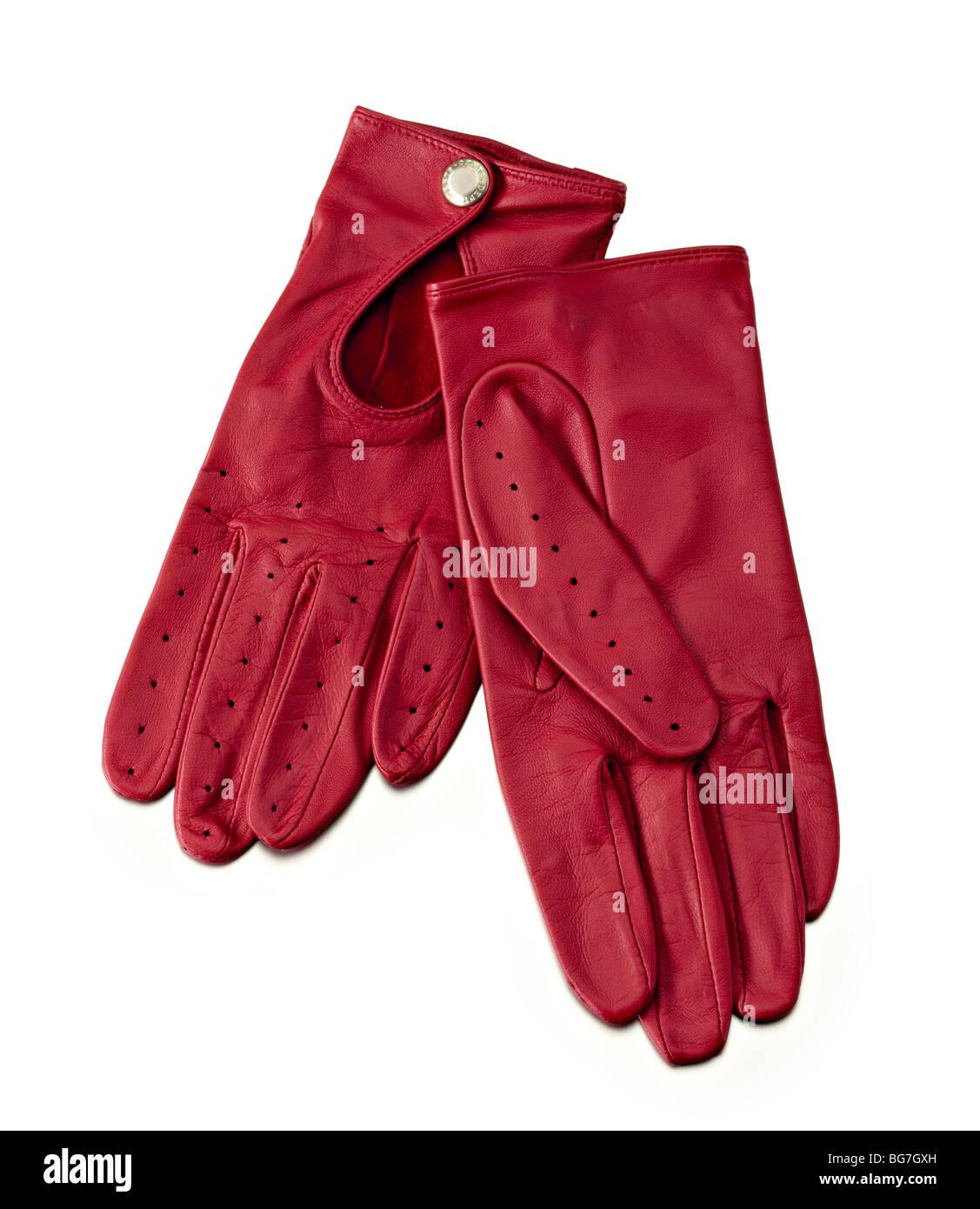 rotem Leder Damen Stil Fahrhandschuhe Stockbild
