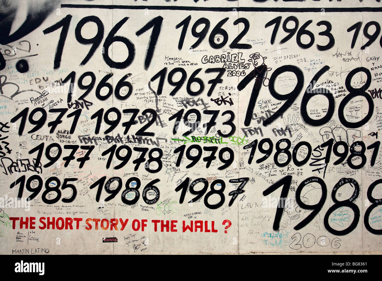 Kleinen Teil der Berliner Mauer gemalt. Stockbild