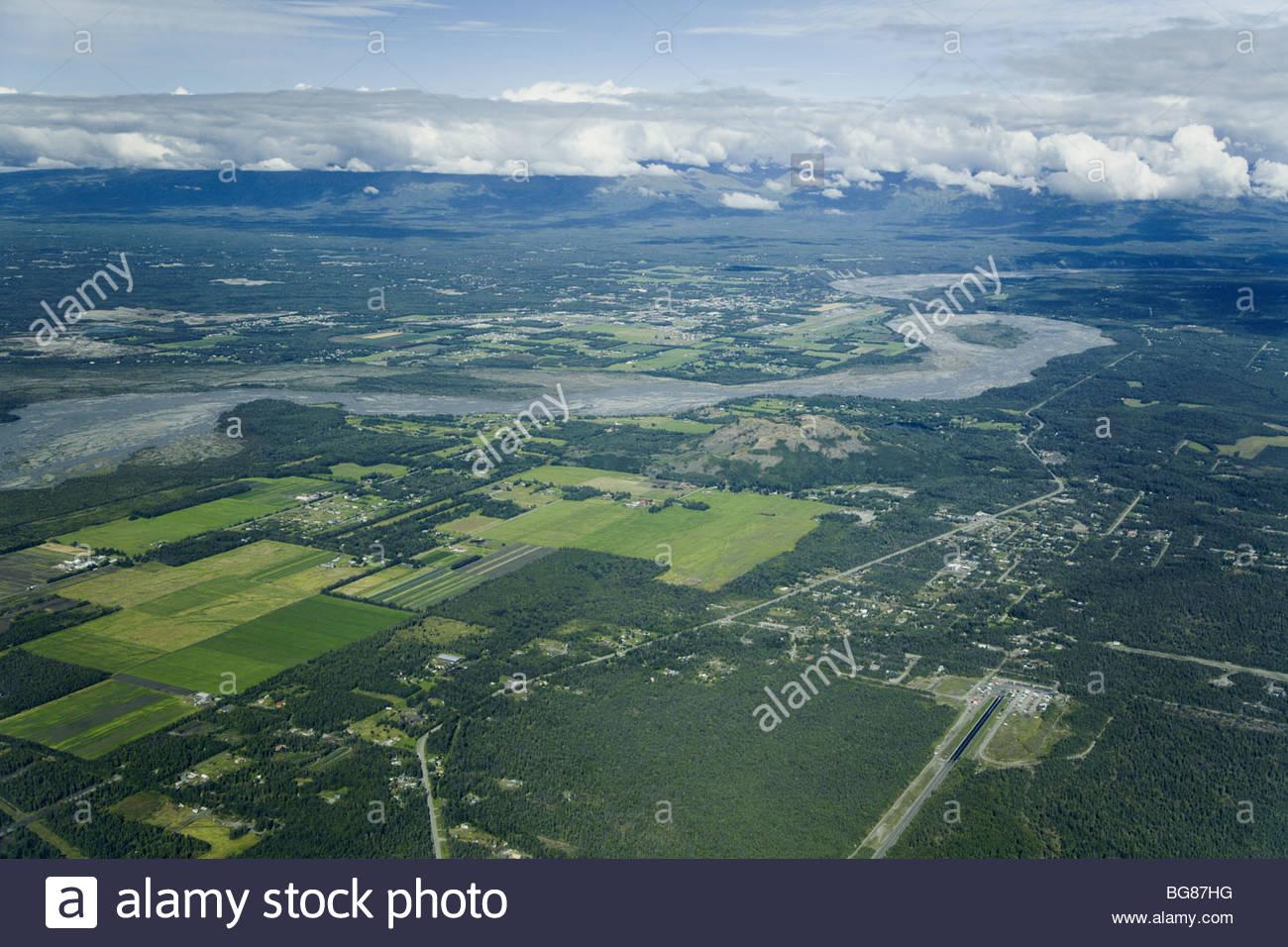 Matanuska Valley Mat Su Borough Alaska Luftaufnahme über