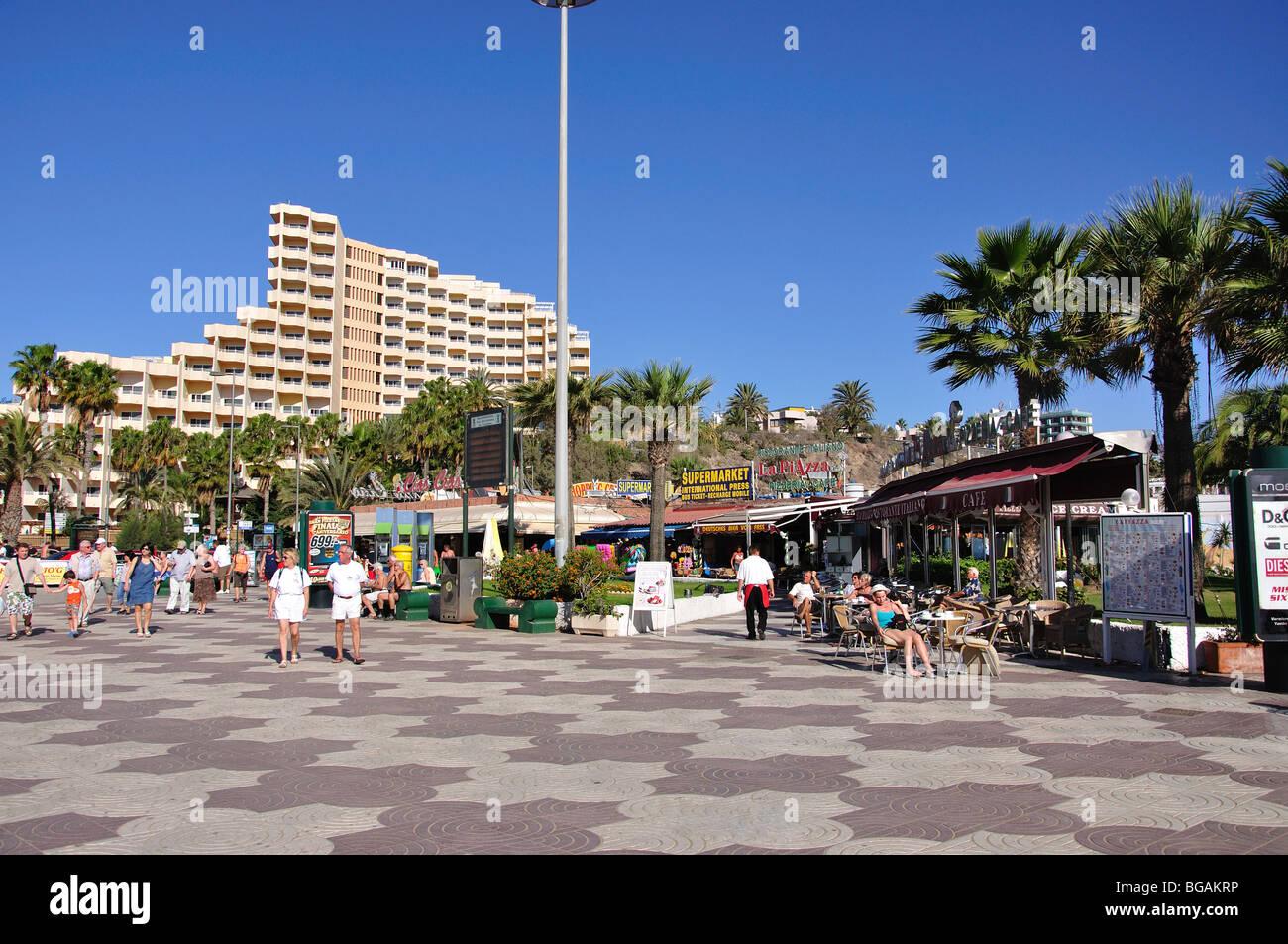 Strandpromenade, Playa del Ingles, Gran Canaria, Kanarische Inseln, Spanien Stockfoto