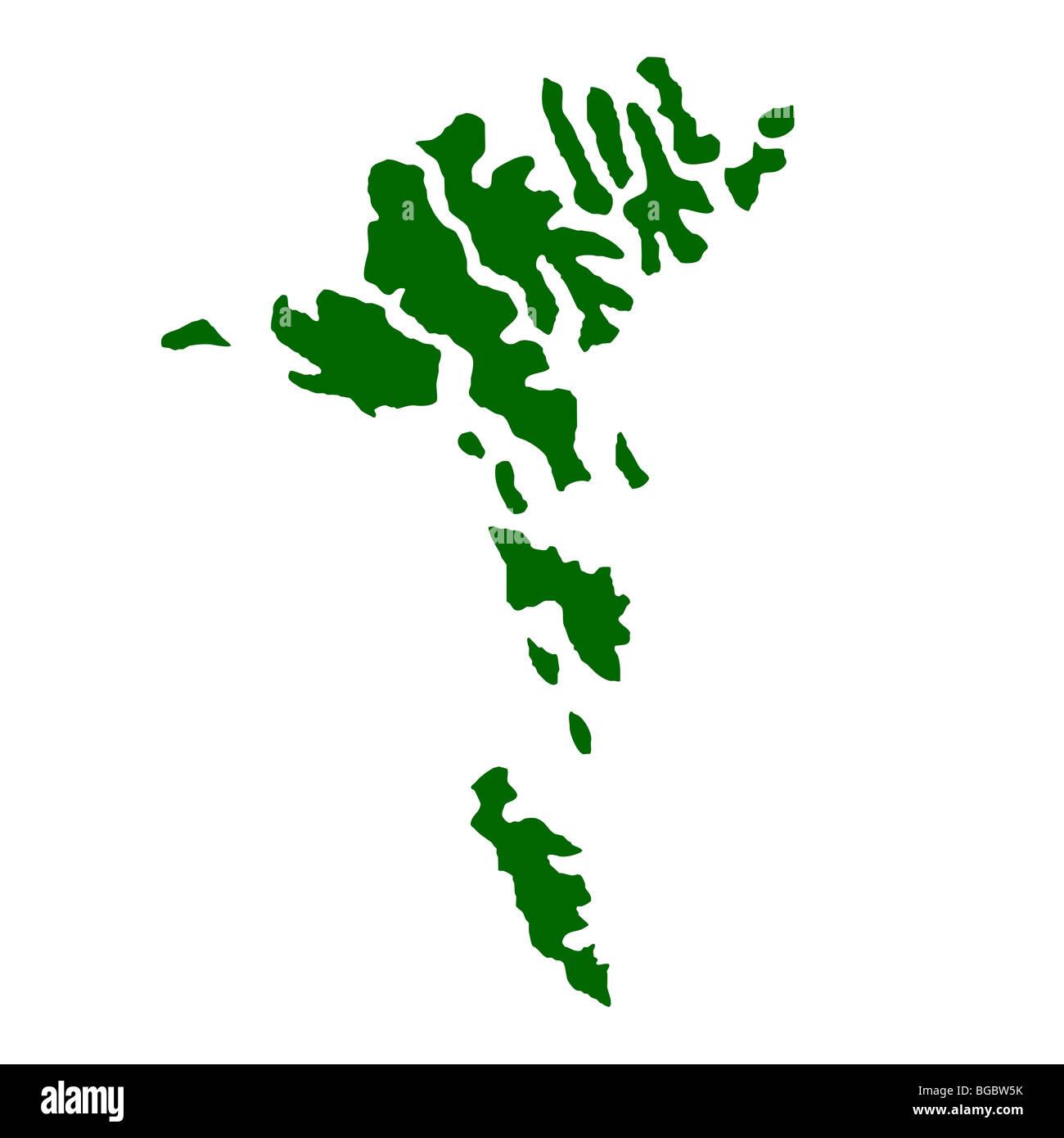 Karte Von Faroer Inseln Isoliert Auf Weissem Hintergrund Stockfoto