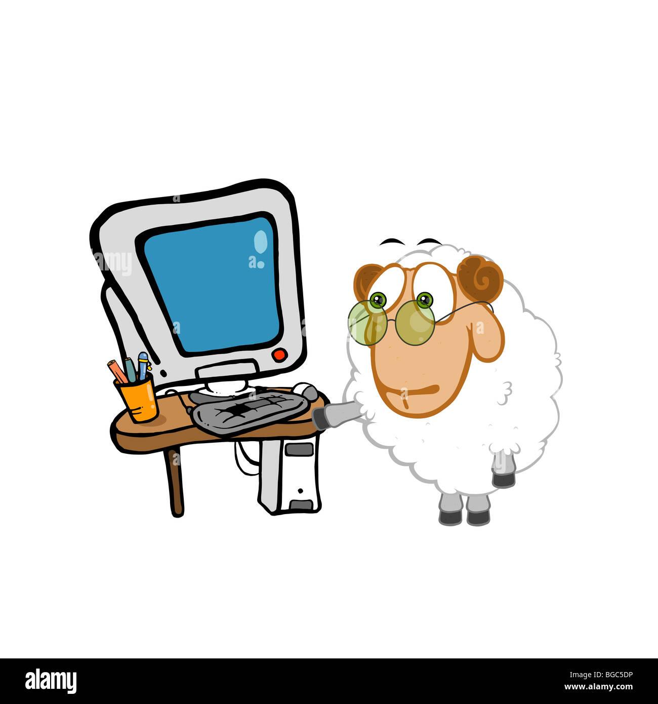 Lustige Schafe Stellt Seinen Arbeitsplatz Comic Bild Enthalt