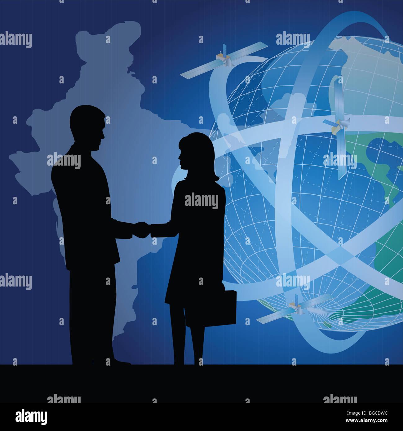 Silhouette der Geschäftsleute zeigen Geschäftsvereinbarung Stockfoto ...
