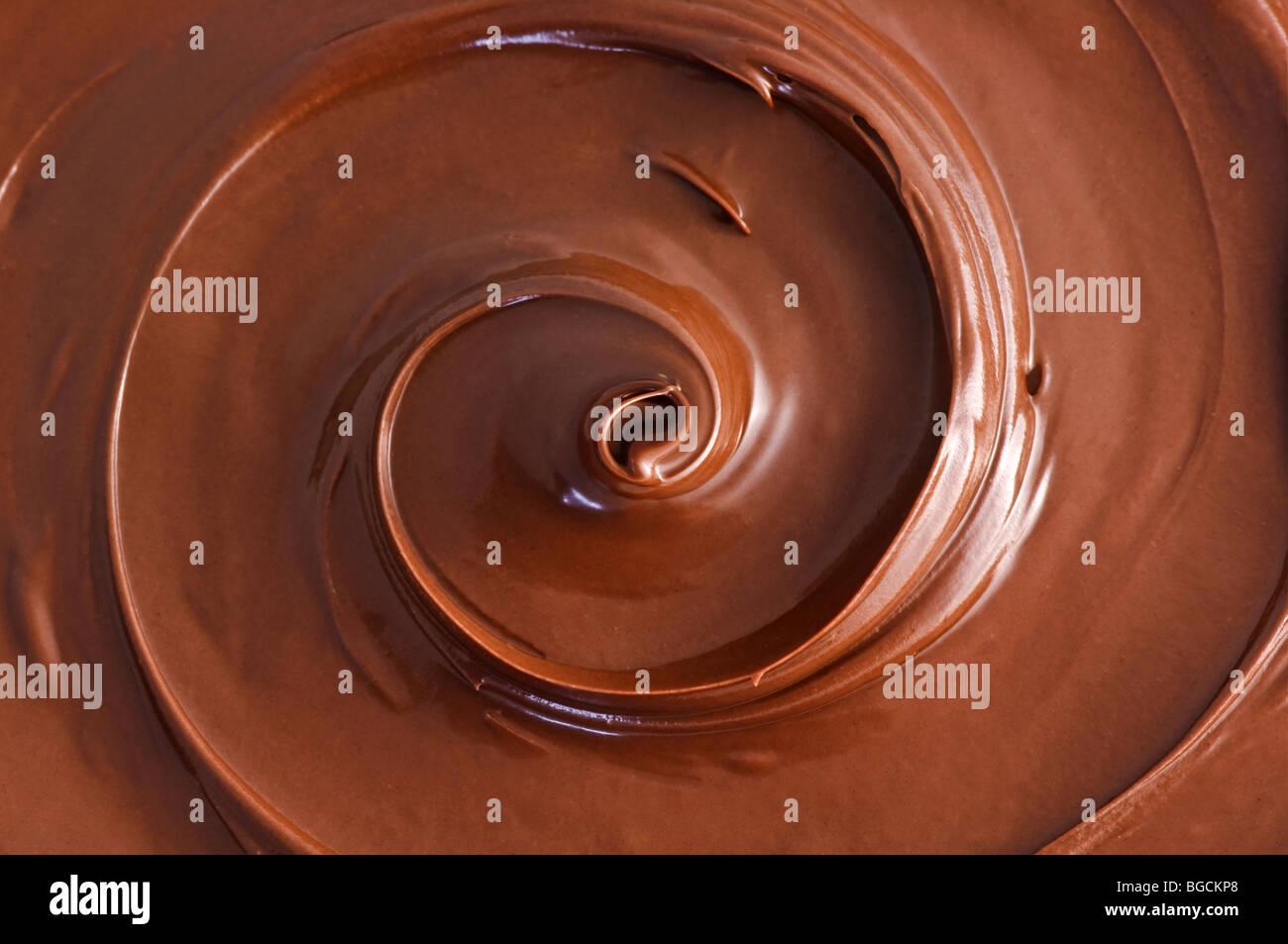 schwarze Schokolade Wirbel Stockfoto