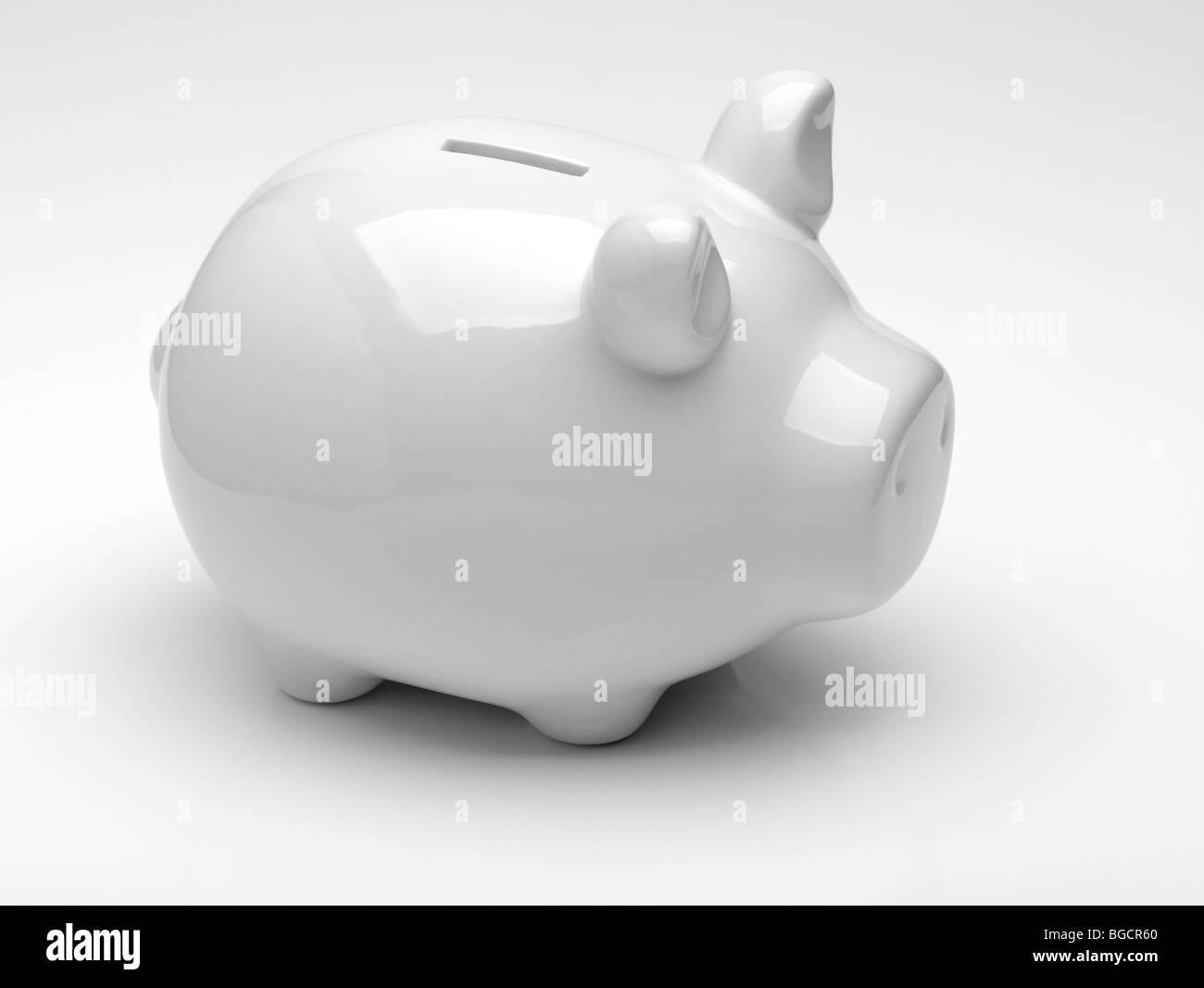 Weiße Sparschwein Stockbild