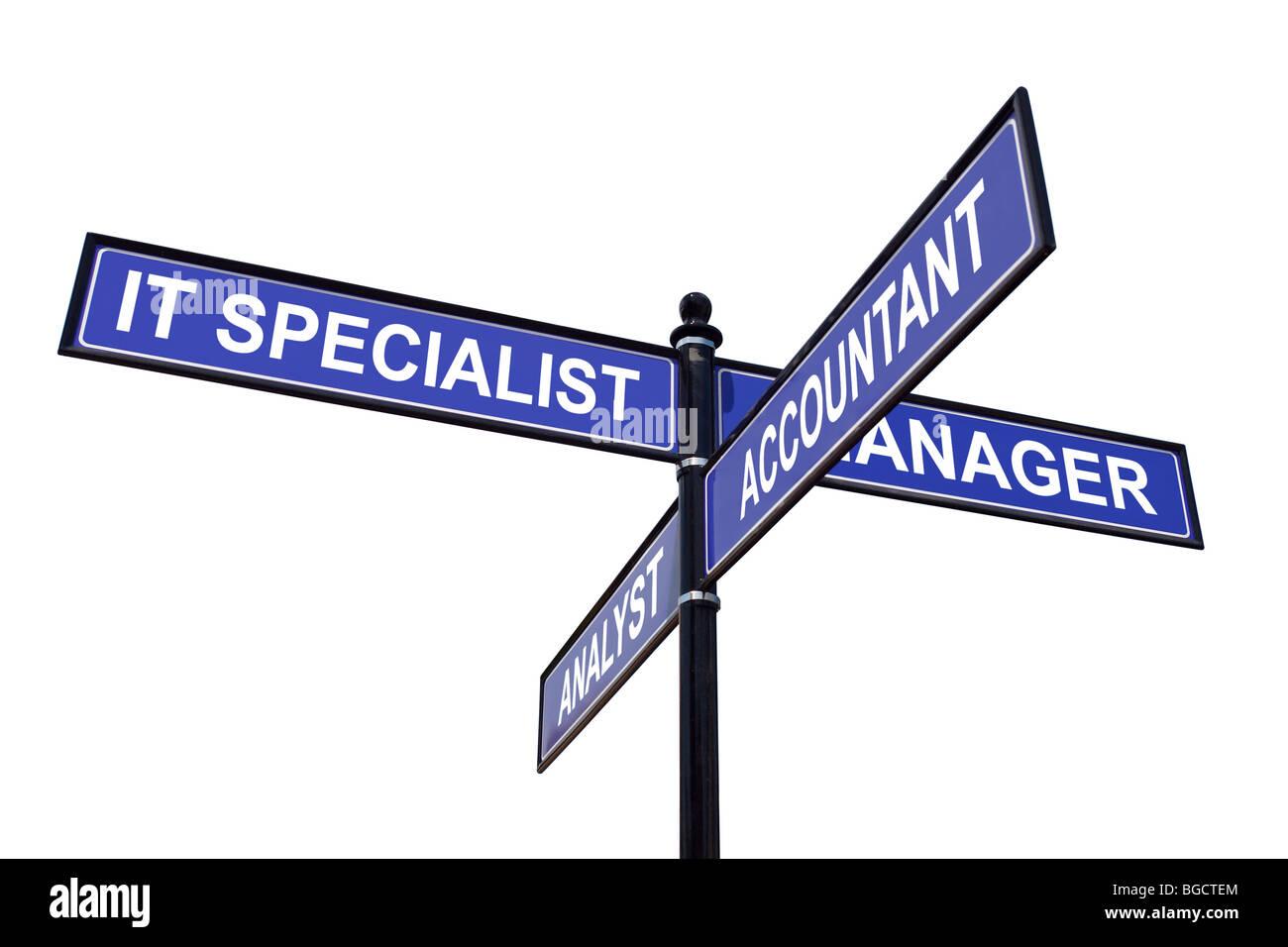Vierwege-Metall Roadsign mit IT-Spezialisten, Manager, Buchhalter und Analyst Stellenangebote auf weißem Hintergrund Stockbild
