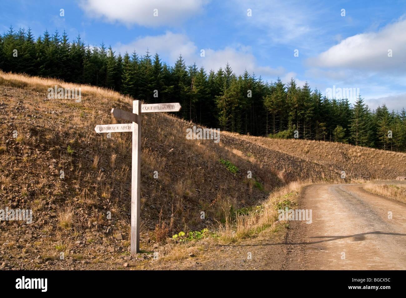 Finger-Post an Cairnhead, Nithsdale, Dumfries and Galloway, Schottland Stockbild
