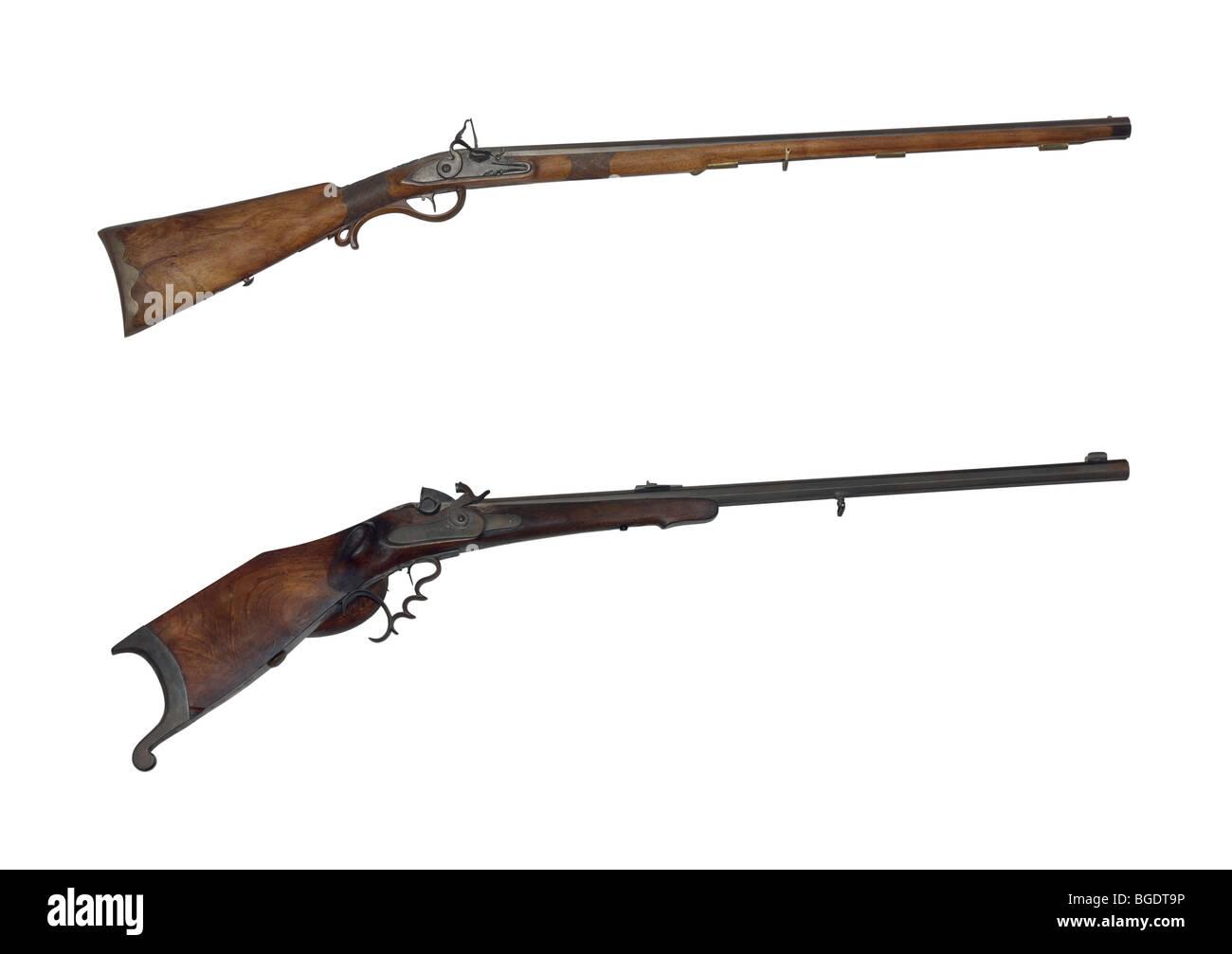 Jagdgewehr des 19. Jahrhunderts isoliert auf weißem Hintergrund Stockbild