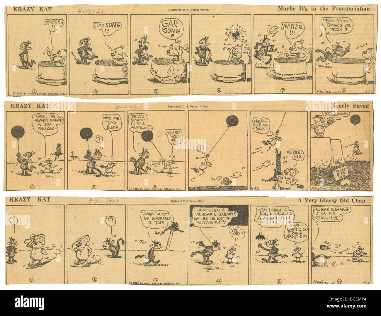 Drei original April 1921 Streifen tägliche Comic Krazy Kat von George Herriman. Stockbild