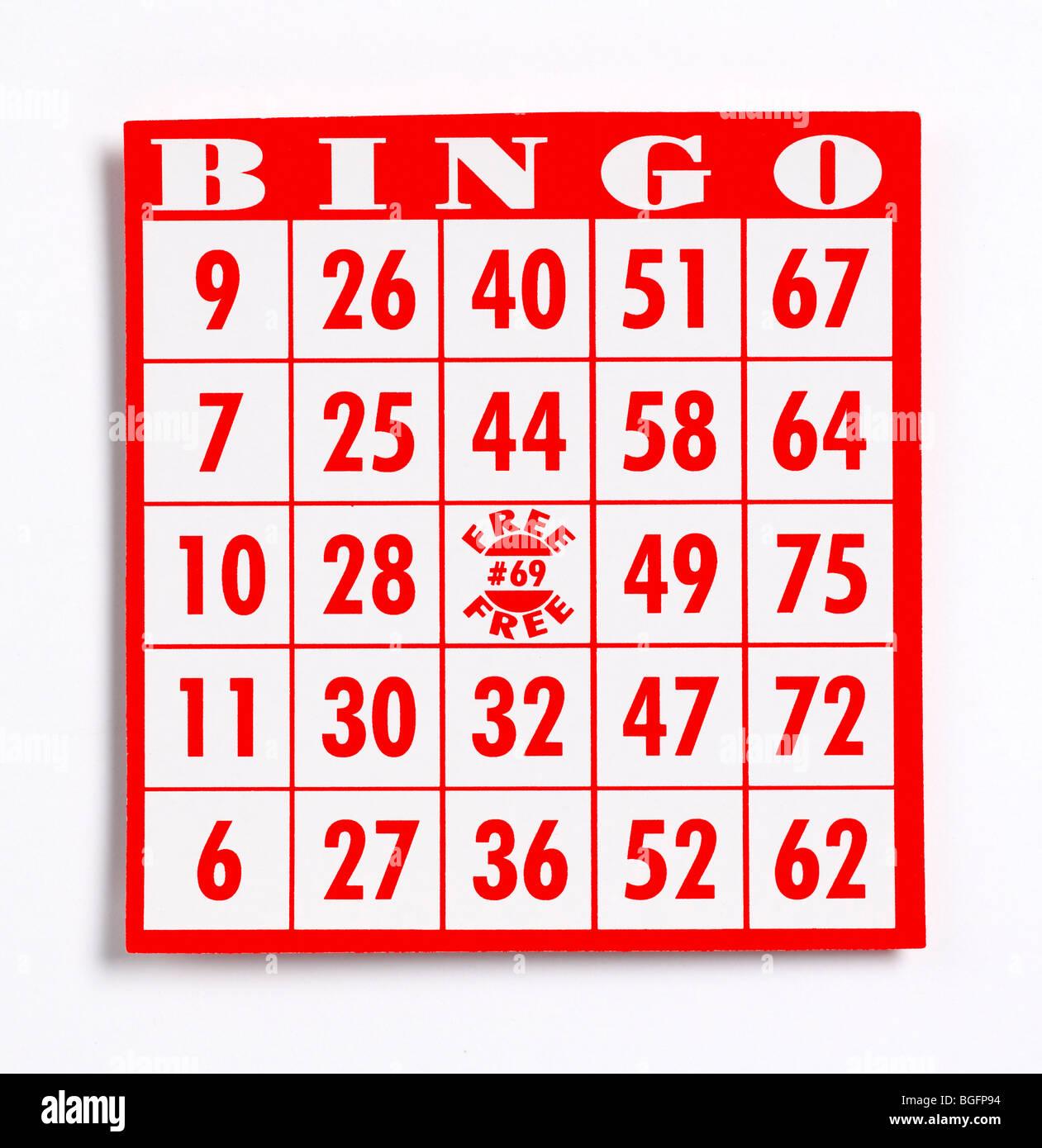 Bingo-Spielkarte Stockbild