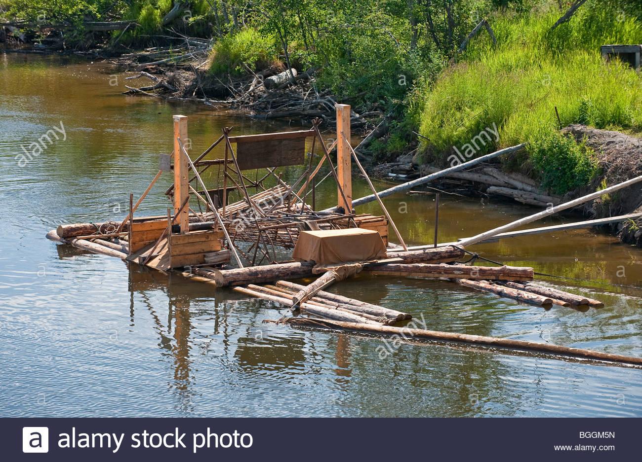 Alaska, Fairbanks. Schaufelrad Riverboat Entdeckungstour entlang der Chena River gibt Touristen einen Vorgeschmack Stockfoto