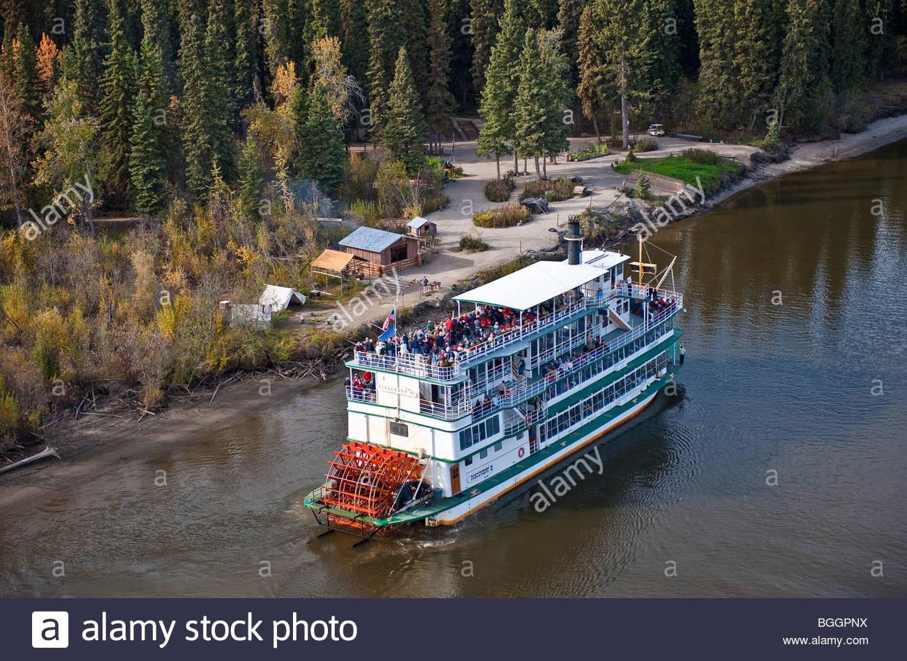 Fairbanks Alaska ein Blick auf ein Paddel Boot Raddampfer der Discovery 3, Flussschiff, die die Besucher auf einer Stockbild