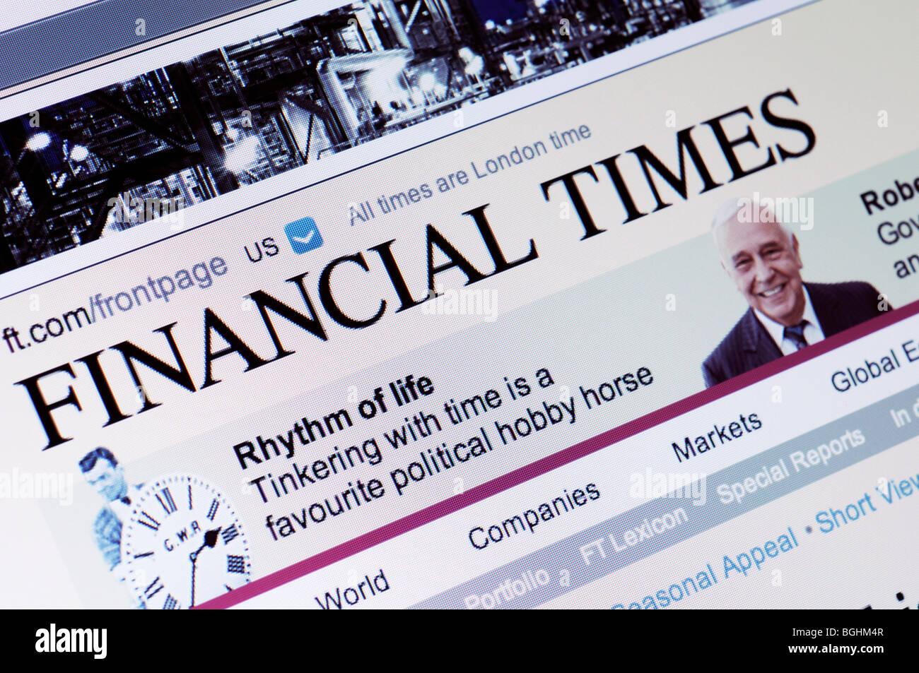 Financial Times website Stockbild