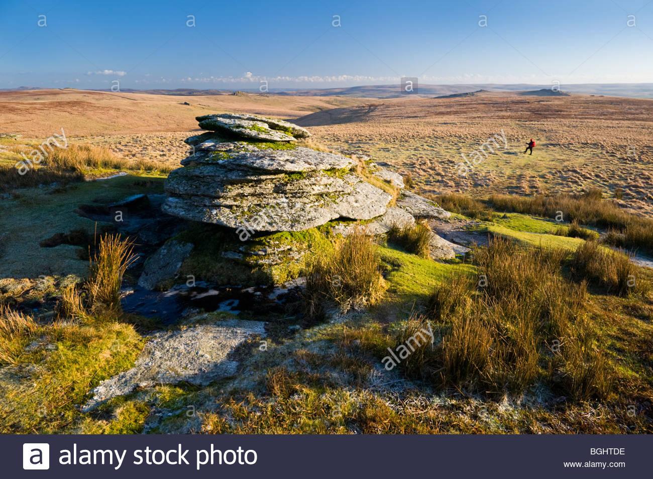 Fuß in Richtung Beardown Tor, Dartmoor National Park, Devon, England. Stockbild