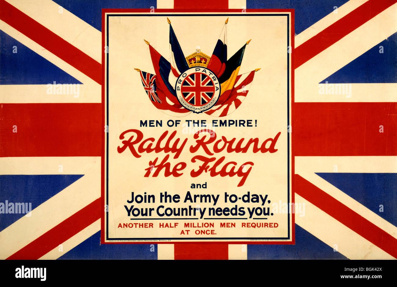 WWI-Plakat zeigt die Flaggen der Alliierten, vor dem Hintergrund der britischen Flagge Stockbild