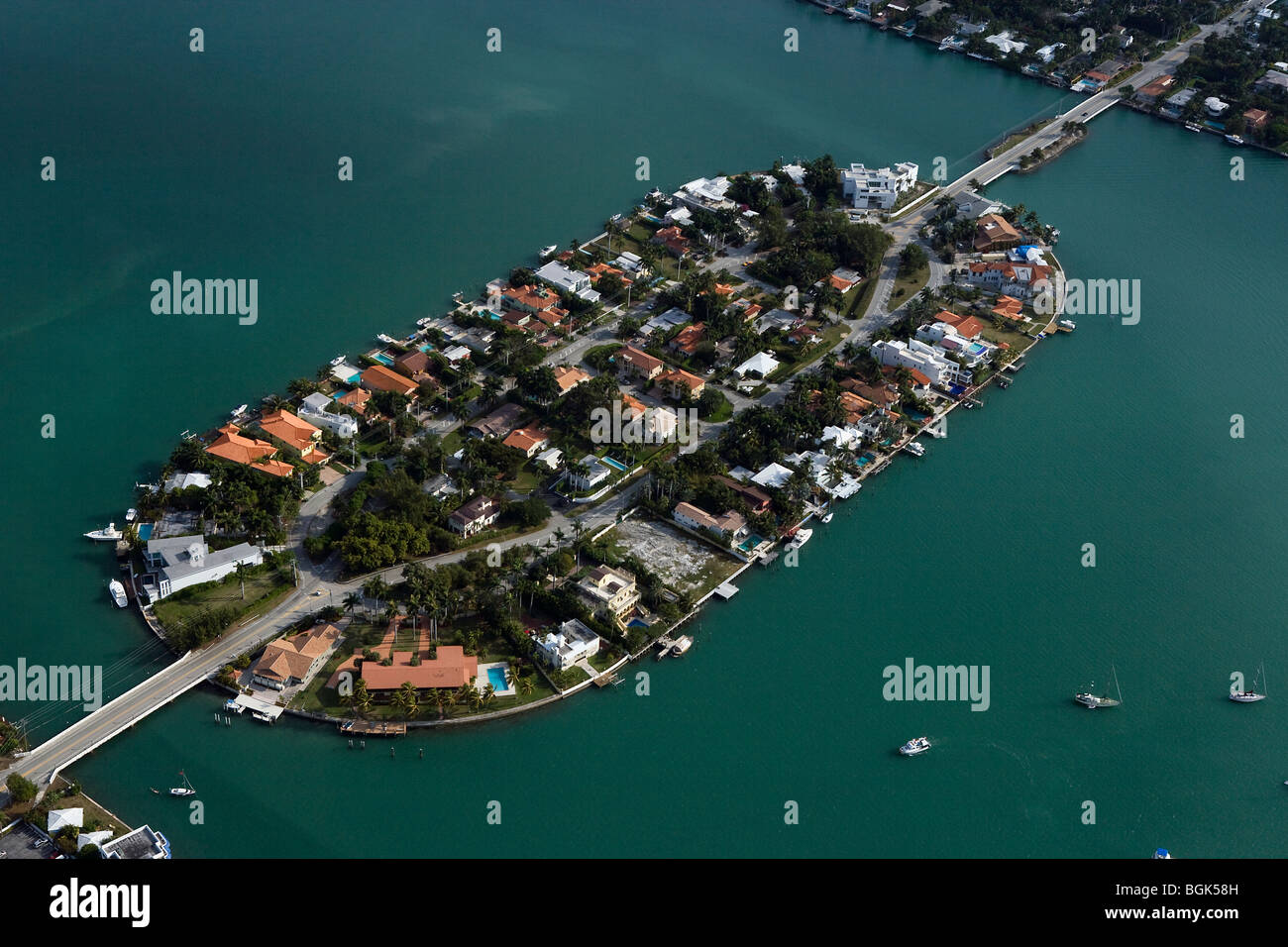 Luftaufnahme über San Marco Island Biscayne Bay Miami Florida Stockbild