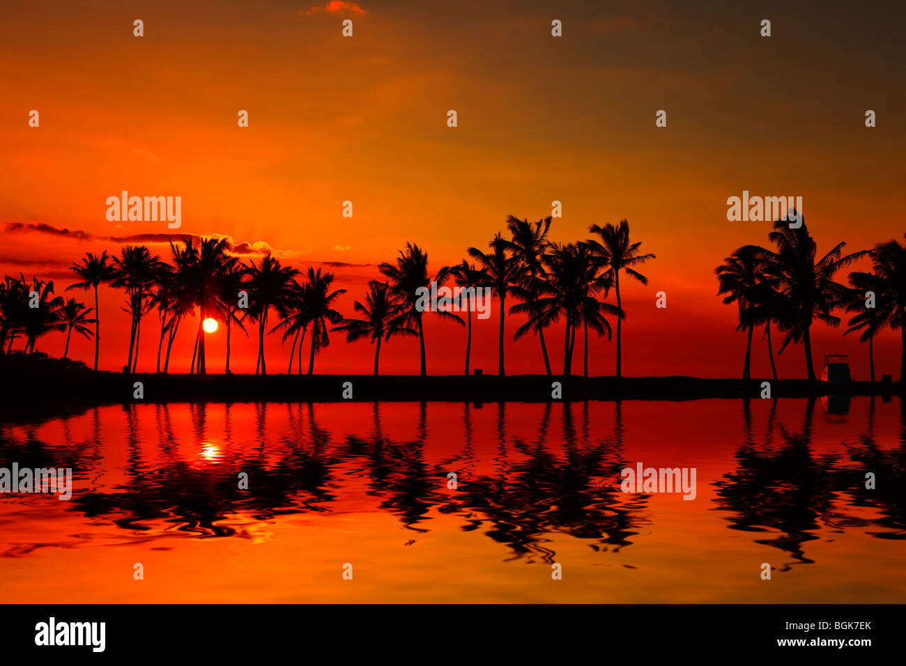 Anaehoomalu Bay Sonnenuntergang auf Big Island Hawaii Stockbild