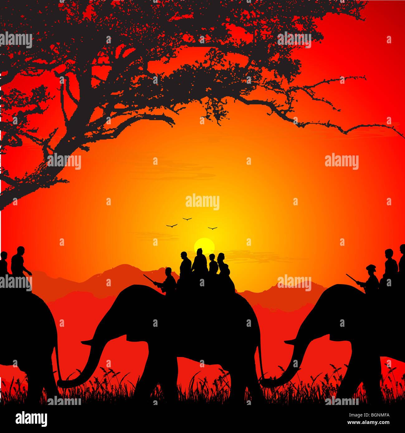 Silhouette des Wildlife Safari auf einem Elefanten Stockfoto