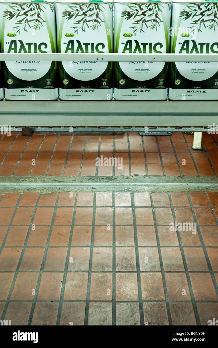 die Produktionslinie Elais Olivenöl Verarbeitungsanlage Stockbild